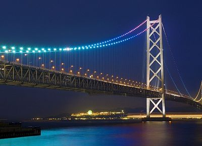 Japan, bridges, Akashi Kaikyo bridge - desktop wallpaper
