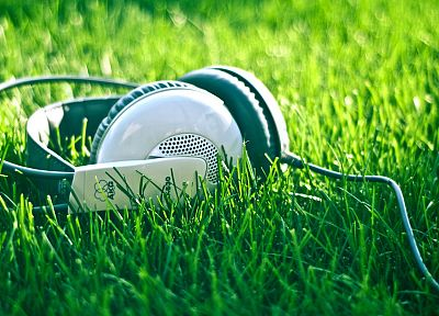 headphones, grass, AKG Acoustics - random desktop wallpaper