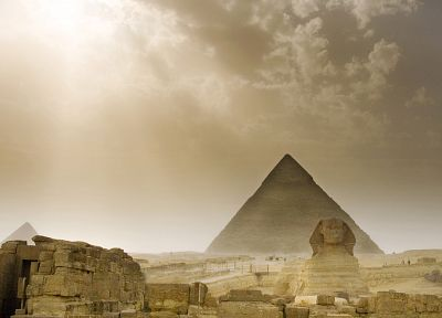 architecture, Egypt, sphinx, pyramids, Great Pyramid of Giza - desktop wallpaper