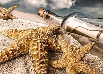 nature, sand, bottles, starfish, beaches - random desktop wallpaper