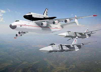 aircraft, Soviet, planes, spacecraft, Antonov An-225, Buran shuttle - random desktop wallpaper