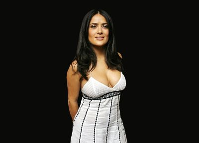 brunettes, women, Salma Hayek, cleavage, Latina, black background - desktop wallpaper