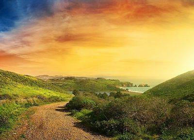 landscapes, nature, coast, hills, skyscapes - random desktop wallpaper
