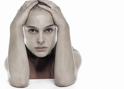 women, actress, Natalie Portman, simple background, white background - desktop wallpaper