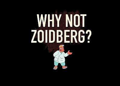 Futurama, funny, Dr Zoidberg, questions, black background - desktop wallpaper