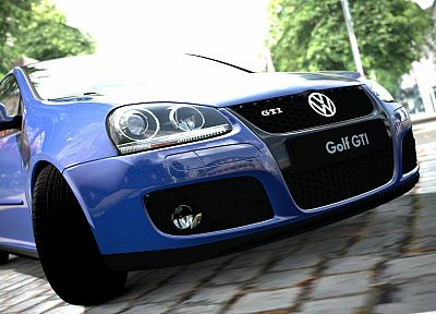 video games, blue, cars, gate, GTI, Volkswagen - desktop wallpaper
