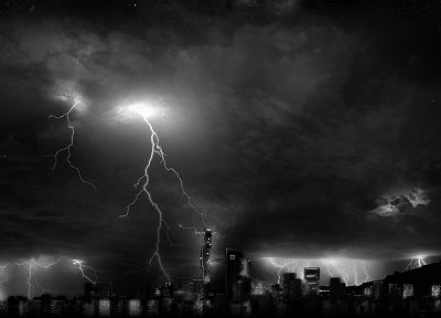 skylines, grayscale, lightning - random desktop wallpaper