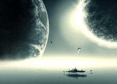 futuristic, planets, digital art - random desktop wallpaper