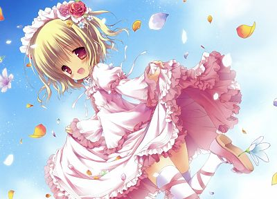 blondes, dress, blossoms, thigh highs, lolicon, anime, pink eyes, lolita fashion, flower petals, anime girls, looking back - related desktop wallpaper