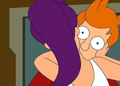 Futurama, kissing, Turanga Leela, Philip J. Fry - random desktop wallpaper