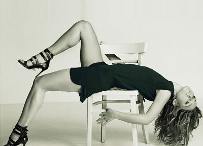women, actress, Keira Knightley, high heels, grayscale, chairs, monochrome - related desktop wallpaper