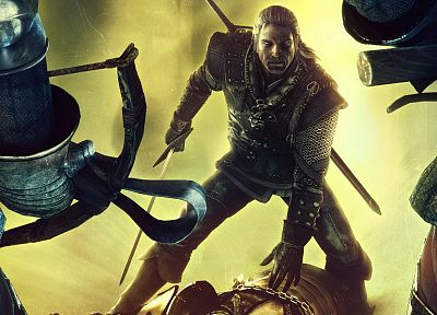 gaming, Geralt of Rivia, chainmail, The Witcher 2: Assassins of Kings, crossbows, gauntlets, swords - random desktop wallpaper