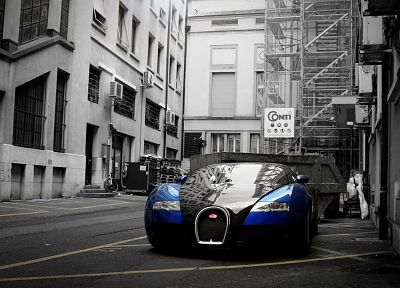 cityscapes, cars, Bugatti Veyron, selective coloring - desktop wallpaper