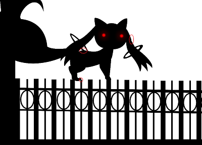 fences, red eyes, Mahou Shoujo Madoka Magica, anime, selective coloring, Kyubey - random desktop wallpaper