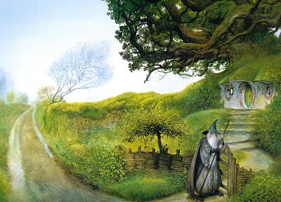 Gandalf, The Lord of the Rings, artwork, John Howe, The Fellowship of the Ring, The Shire, Bag End - related desktop wallpaper