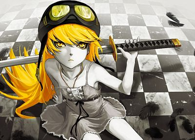 katana, weapons, Bakemonogatari, vampires, Oshino Shinobu, Monogatari series - related desktop wallpaper