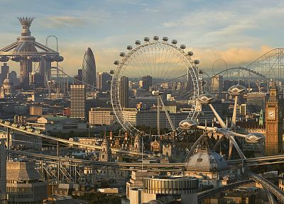 cityscapes, fake, CGI, London, London Eye, Big Ben, future cities, photo manipulations, Roller coaster - random desktop wallpaper