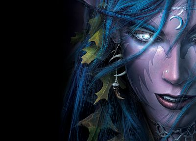 World of Warcraft, elves, Tyrande Whisperwind, WarCraft III - random desktop wallpaper