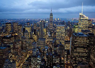 clouds, cityscapes, lights, New York City, skyscrapers - related desktop wallpaper