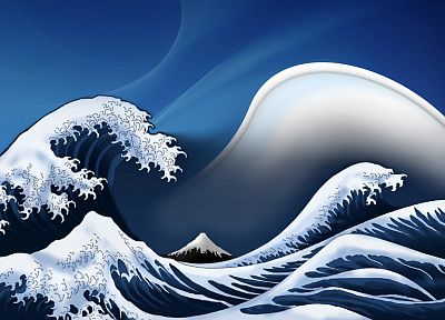 waves, digital art, artwork, The Great Wave off Kanagawa - random desktop wallpaper