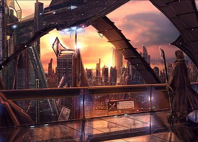 cityscapes, futuristic, buildings, drawings - related desktop wallpaper