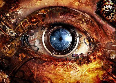 3D view, abstract, eyes, steampunk - related desktop wallpaper