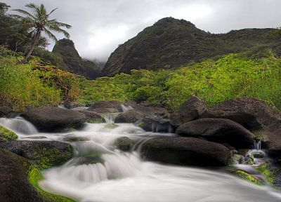 landscapes, nature, valleys, Hawaii, waterfalls, rivers - related desktop wallpaper