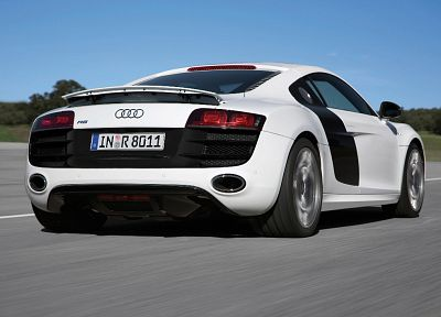 white, cars, Audi, Audi R8, white cars, German cars, rear angle view - random desktop wallpaper