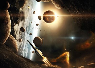 outer space, planets, spaceships, asteroids, vehicles - desktop wallpaper