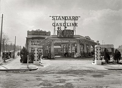 vintage, USA, gas, monochrome, historic, gas station - related desktop wallpaper