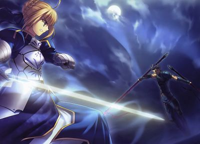 Fate/Stay Night, Type-Moon, Saber, Lancer (Fate/Zero), Fate series - related desktop wallpaper