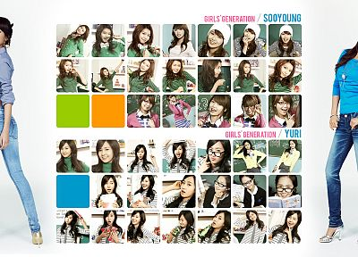jeans, Girls Generation SNSD, celebrity, high heels, Kwon Yuri, Choi Sooyoung, bracelets, chalkboards - desktop wallpaper