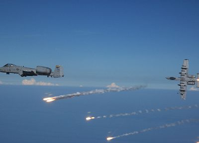 aircraft, military, vehicles, flares, A-10 Thunderbolt II - desktop wallpaper