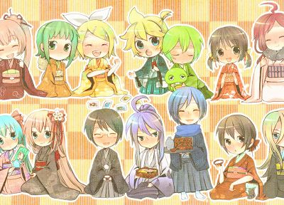 Vocaloid, Hatsune Miku, Megurine Luka, Kaito (Vocaloid), kimono, Kagamine Rin, Kagamine Len, Megpoid Gumi, SF-A2 Miki, Meiko, Kaai Yuki, Lily (Vocaloid) - related desktop wallpaper