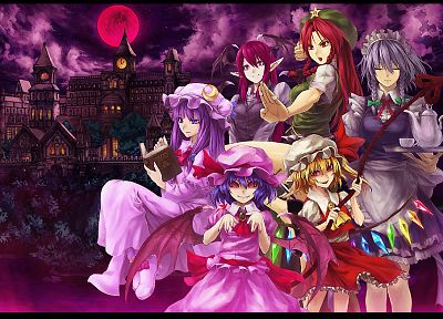 Touhou, Izayoi Sakuya, Flandre Scarlet, Koakuma, Hong Meiling, Patchouli Knowledge, Remilia Scarlet, Laevateinn, Embodiment of Scarlet Devil - desktop wallpaper
