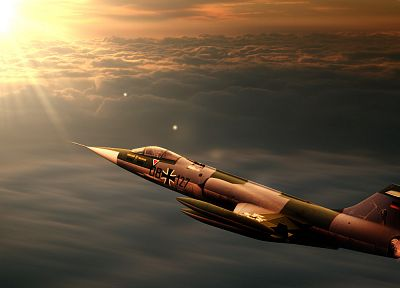 aircraft, Luftwaffe, F-104 Starfighter, skyscapes - random desktop wallpaper