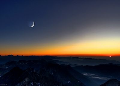 sunset, landscapes, horizon, Moon - random desktop wallpaper