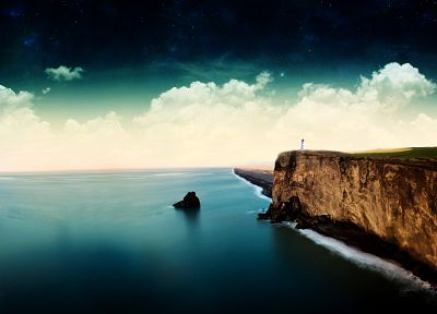 landscapes, nature, shore, lighthouses, photo manipulation - desktop wallpaper