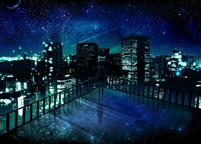 outer space, cityscapes, night, stars, balcony, buildings, lonely, city lights, artwork, manga, night landscapes - related desktop wallpaper