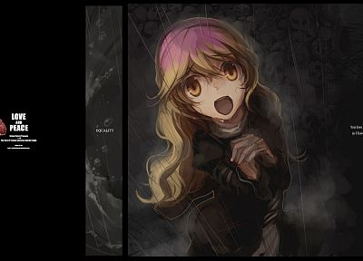 blondes, Touhou, black, dark, rain, happy, wet, long hair, grey, purple hair, yellow eyes, open mouth, Hijiri Byakuren, anime girls, bicolored hair, Shimadoriru - related desktop wallpaper