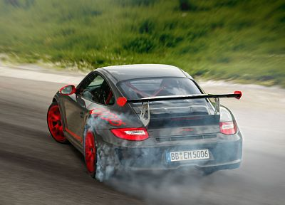 cars, drifting cars, vehicles, Porsche 911 GT3, Porsche 911 GT3 RS, drift, rear angle view - random desktop wallpaper