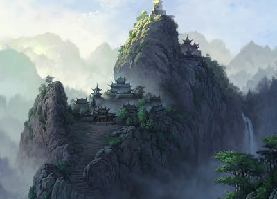 landscapes, temples, Asia, artwork - related desktop wallpaper