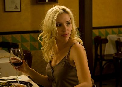 blondes, women, Scarlett Johansson, movies, actress, celebrity, wine, scene, Vicky Cristina Barcelona - related desktop wallpaper