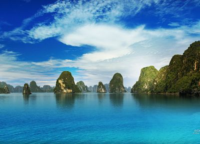 mountains, clouds, landscapes, islands, skyscapes, sea - related desktop wallpaper