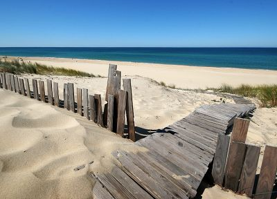 water, landscapes, sand, fences, blue skies, sea, beaches - desktop wallpaper