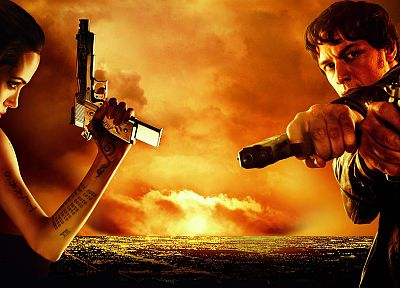 pistols, movies, Angelina Jolie, James McAvoy, Wanted (movie) - random desktop wallpaper