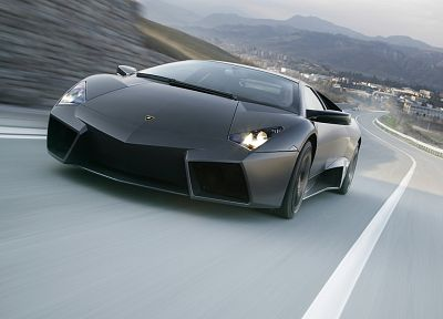 mountains, black, trees, lights, cars, hills, Lamborghini, roads, vehicles - related desktop wallpaper