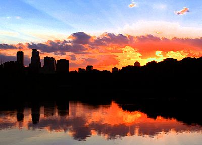 water, sunset, clouds, silhouettes, reflections, cities, skies, Minneapolis - related desktop wallpaper
