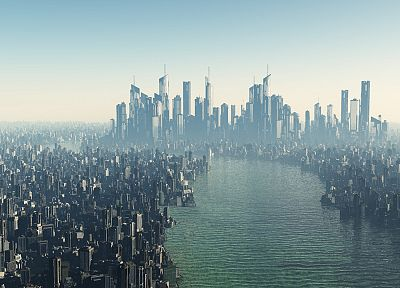landscapes, cityscapes, futuristic, digital art, city skyline, rivers - related desktop wallpaper
