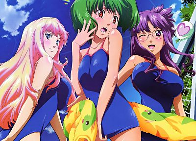 Macross Frontier, meganekko, swimsuits, Lee Ranka, Nome Sheryl - desktop wallpaper